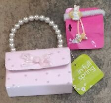 NWT Pink Easter Purse Handbag 4T 5T 4 5 6 7 8 Bunny Hair Pony Clip
