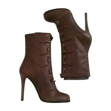 NEW THAKOON x Giuseppe Zanotti Brown Leather Booties Boots Stiletto Heel 7.5
