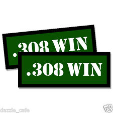 308 WIN Ammo Can Stickers 2x Ammunition Gun Case Labels  GREEN Decals 2 pack