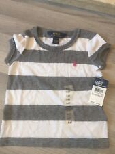 BRAND NEW BABY  GIRLS POLO RALPH LAUREN GREY WHITE STRIPE T-SHIRT 2