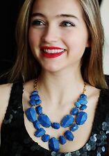 kate spade BLUE LAPIS quarry gems double drop statement necklace earrings SET