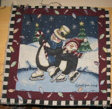 Ice Skating Penguins & Christmas Lights Tapestry Pillow Top Fabric Piece