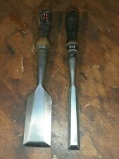 "New Listing2 Stanley No 750 Socket Chisel 1 1/2"" and 5/8"" 4 square handles Carving Tool"