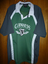 Guinness XL Short Sleeve Two Button Front with Collar, Green/Gray/White Shirt