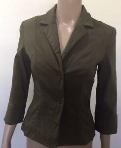 Veronika Maine Jacket Size 8 3/4 Sleeve Green Khaki stretch