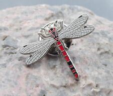 American Red Dragonfly Damselfly Prehistoric Flying Insect Brooch Pin Badge
