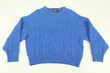 PARAMOUNT Pure British Wool Cable Knit Sweater Royal Blue XL Men's Winter