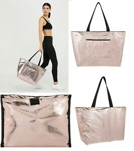 Accessorize Metallic packable gym bag tote PE Foldable zip Shopping bag