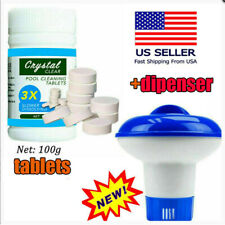 100g swimming Cleaning Tablets +Floating Chlorine Chemical Dispenser US STO