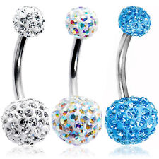 Belly Button Ring ferido Crystal CZ 14g Surgical Steel 3 Pack
