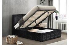 NEW 4FT6 Versatile Gas-Lift Ottoman Bed Frame In Deluxe Black Crushed Velvet