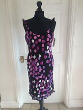 Next Black Purple Dots Spotted Ruffled Strap Dress Uk 10 / EU 38 rrp £39.99