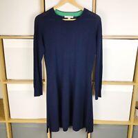 Boden Navy Fine Knit Wool Blend Swing Jumper Dress Size 10 BNWOT