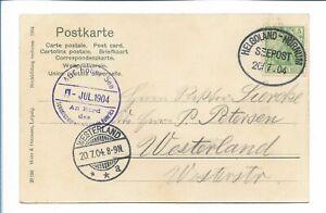 X005/ Stempel Seepost Helgoland - Hörnum 20.7.1904  AK Auf der Brücke