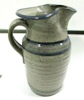 Art Pottery Stoneware Ribbed Thrown Pitcher Jug Jeff Hallard ? Signed Gray Blue