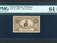 Poland:P-45,20 Groszy,1924 * 1924-5 Bilet Zdawkowy Issue * PMG Ch. UNC 64 EPQ *