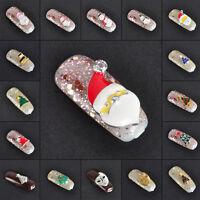 DIY Cute Christmas Mini Xmas Tree Snowflake 3D Nail Art Tips Decoration 10Pieces