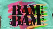 VTG NEW NOS 80's G&S GORDON & SMITH BAM BAM WHEELS SKATEBOARD SHIRT + sticker !!