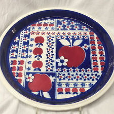"MIKASA CALICO MACINTOSH DINNER PLATE 10 5/8"" APPLES BLUE WHITE & RED FLOWERS"