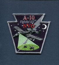 103rd FS REPUBLIC NVG A-10 WARTHOG THUNDERBOLT II USAF PA ANG Squadron Patch