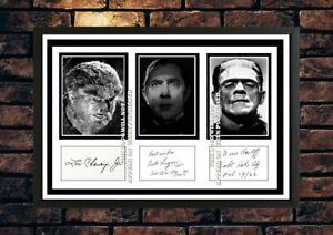 (514) lon chaney jr bela lugosi boris karloff signed photograph unframed/framed