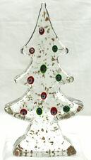 "MURANO ART GLASS 9"" CHRISTMAS TREE - CLEAR W/MILLEFIORI FLOWERS & GOLD W/LABEL"
