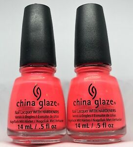 China Glaze Nail Polish Pink Plumeria 1094 Shimmered Coral Pink Neon Lacquer