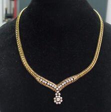 "Fine Round Diamond Circular Drop Yellow Gold Pattern Italian Necklace 16"" 1.50Ct"
