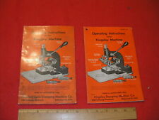 Operating Instructions for Kingsley Gold Stamping Machine Hot Foil 1945 1948