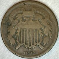 1865 US Two Cent Bronze Coin United States 2c Coin Good K98