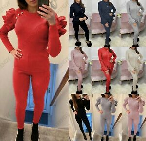 Womens Gold Button Loungewear Suit Ladies Frill Peplum Ribbed Knit Tracksuit Set