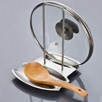 Stainless Steel Pot Lid Shelf Kitchen Organizer Stand Spoon Holder Dish Rack