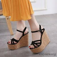 Womens Open toe Ankle Strap High Wedge Heel Slingback Shoes Party Casual Sandals