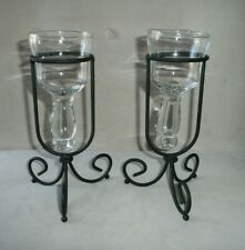 "Vintage Standing Black Metal and Glass Votive Candleholders Set of 2 9"" tall"