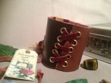 Handmade Genuine Leather Brown Cuff Bracelet Gothic. Made In England.LARP.