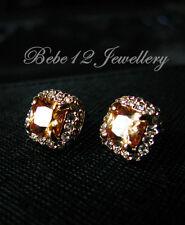 Crystal Cushion Cut Topaz/Brown Stud Earring/White/RGE475/E411/E113