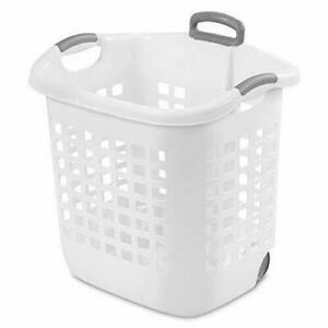 Laundry Basket 62 L White STERILITE with pull handle and wheels plastic
