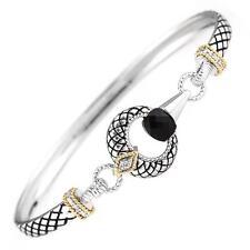 Andrea Candela 18k Gold & Sterling Diamond Black Onyx Cable Bracelet ACB318/04ON