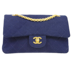 CHANEL Classic Double Flap Small Chain Shoulder Bag 3439608 Navy Cotton 38289