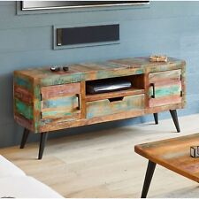 Coastal Chic Widescreen Television Cabinet Stand Unit Reclaimed Indian Furniture