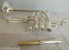 Piccolo Trumpet Silver-Plated Eastern Music Heavy duty type Amado keys With Case