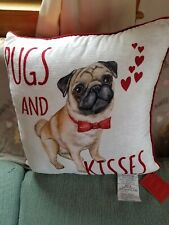 Pugs And Kisses 20 X 20 Valentine Pillow