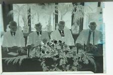 (1) B&W Press Photo Negative Kiwanis International Suited Men Table Flowers T475