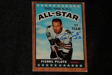 HOF PIERRE PILOTE 1966-67 TOPPS ALL STAR SIGNED AUTOGRAPHED CARD 123 BLACK HAWKS