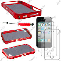 Housse Coque Etui Bumper VAPOR Rouge Apple iPhone 4S 4+Mini Stylet+3 Film écran