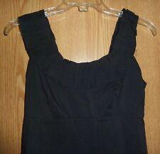 BANANA REPUBLIC *LITTLE BLACK DRESS* EMPIRE/RUFFLED SCOOP NECK/COTTON - MISSES 0
