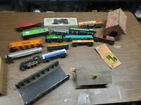 Lot of 15 HO Train car and locomotive lot with covered bridge building bridge
