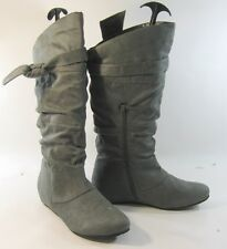 """ladies new  Gray 1.5""""Low Hidden Wedge Round Toe Side Bow Knee Boot Size 11"""