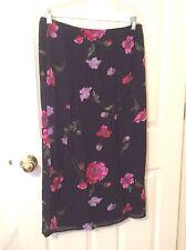 Womens Sz 12 Long Skirt Chiffon Black w Purple Pink Florals PETITE SOPHISTICATE