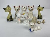 "11 Vintage Porcelain Cat Figurines 2.75"" and less"